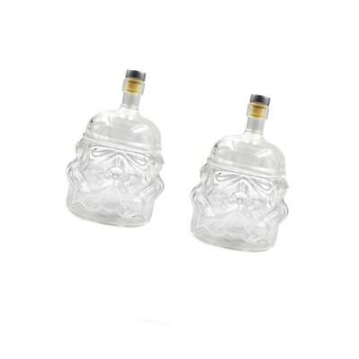 2pcs Glassware Wine Container Whiskey Decanter Wine Bottle With Cork Stopper