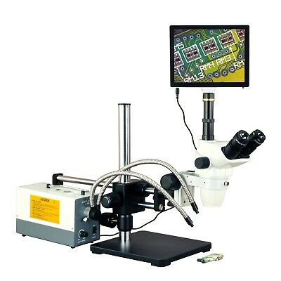 OMAX 270X 5MP Touchpad Simul-focal Zoom Microscope+Ball-Bearing Boom+150W Light