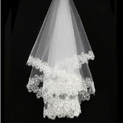 New 1layer Ivory cathedral Bridal Wedding Veil Sequins Edge Without comb