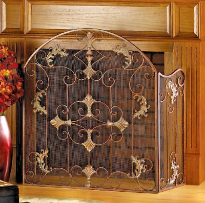 Wrought Iron Fireplace Safety Screen Antique Style Metal Scrollwork Home Decor