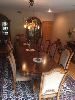 Quality Aico Monte Carlo Ornate Carved Wood Formal Dining Room Set. 10 Chairs