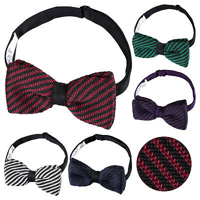 DQT Knit Knitted Geometric Diagonal Stripe Casual Classic Mens Pre-Tied Bow Tie