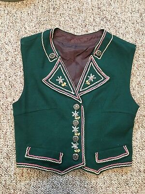 """VTG 1950s traditional Swedish wool lined vest handmade 32"""" bust small"""