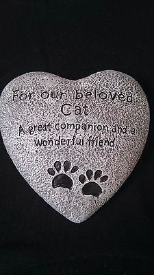 Heart Shaped Memorial Plaque Memory Stone - Our Beloved Cat .UK Seller