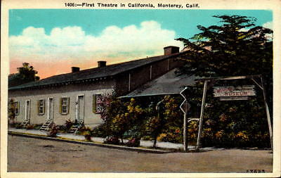 Postcard First Theatre in California Monterey California