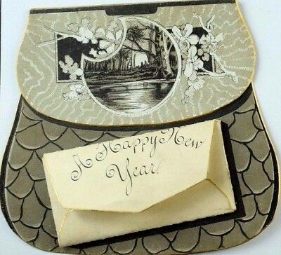 1880's-90's Victorian Die-Cut Purse With Happy New Year's Letter P61