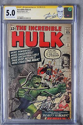Incredible Hulk 5 CGC SS 5.0 signed by Stan Lee! Special Stan Lee Label!