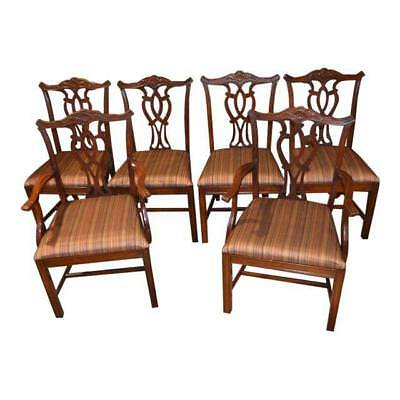 Vintage Set of Six Mahogany Chippendale Style Dining Chairs