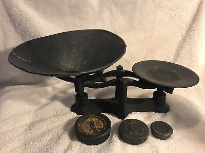 Antique Cast Iron And Tin Scale With Three Weights
