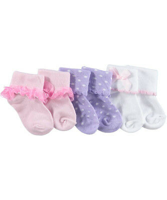 """Luvable Friends Baby Girls' """"Dainty Collection"""" 3-Pack Socks"""
