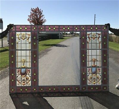 """7' 8"""" Panel Leaded Stained Painted Glass Window House Church Folk Art Vintage a"""