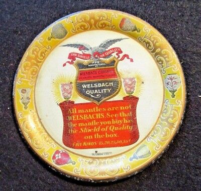 Canisteo Gas Litho Tin Advertising Welsbach's Gas Lamp Mantles Tip Tray Coaster