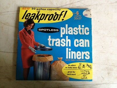 Vintage SPOTLESS Plastic Trash Can Liners, made by MOBIL OIL - NOS, Collectible