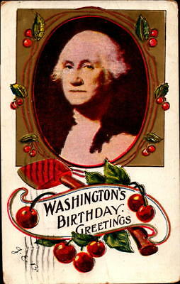 Postcard Washington's Birthday Greetings Cherry 1908 Postmark embossed
