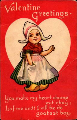 Postcard Valentine Greetings Heart Chump mit Choy 1910 Postmark
