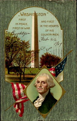 Postcard George Washington's Birthday Greeting 1909 Postmark Brooklyn NY