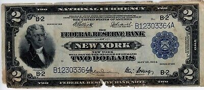1918 National Currency $ 2 New York  Note