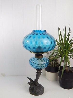 Original Vintage Antique Blue Glass Victorian Oil Lamp & Shade - Bonnefono