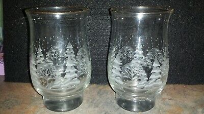 Arby's Christmas Winter Libbey Frosted Pines Tulip/Tumbler 2 Glasses Gold Trim