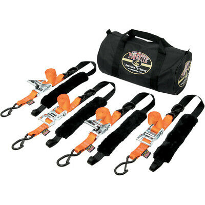 "PowerTye Orange Black Fat Strap Motorcycle ATV Tie Downs 4 1.5"" 1000 Lb Trailer"