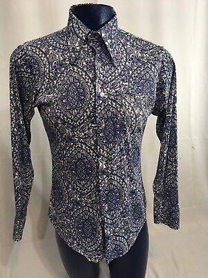 VTG 1970s Now Breed Campus Dress Disco Long Collar Paisley Shirt Polyester M