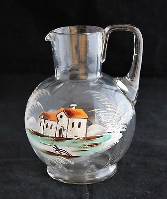 Antique Mary Gregory style Victorian hand painted scene of house pitcher jug