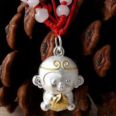 Gift Pure Sterling 999 Silver Pendant Baby's Lovely Monkey With Peach Pendant