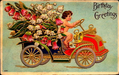 Postcard Birthday Greetings embossed 1909 Postmark