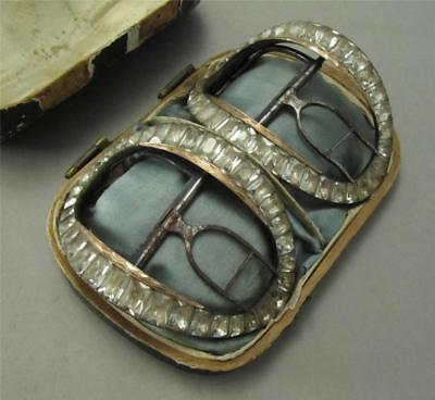 18th c. Gold and French Paste Shoe Buckles in Original Box Antique Buckles