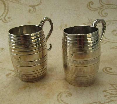 Pair  Early Silver Grappa Cups Naples before 1863 833 fine Silver Shot glass