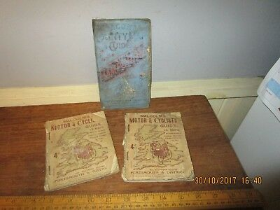 3 x c.1915 maps - Malcolm's Motor & Cycle guide ( Portsmouth) Bacons Hampshire