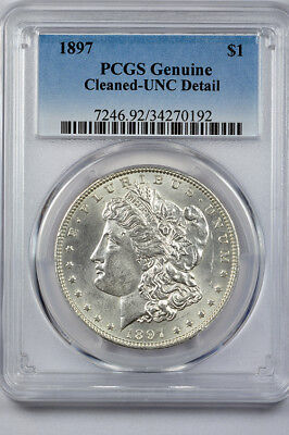 1897 Morgan silver dollar PCGS Unc Details (Cleaned)