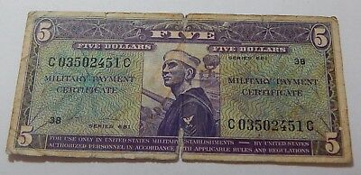 1969-1970 Vietnam Series 681 $5 Military Payment Certificate Note