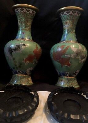 Antique  Vintage Pair Chinese Vases Koi Fish Green Wooden Base Stand 10""