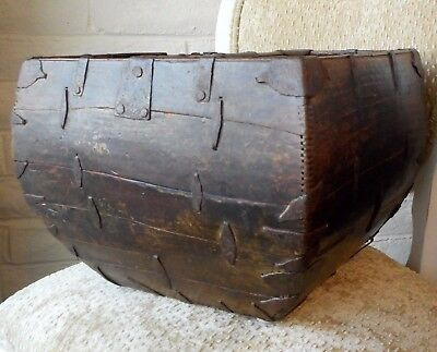 19Th Century Wooden Chinese Rice Measure/basket/box   ***free Shipping***