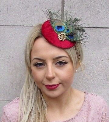 Red Gold Green Peacock Feather Pillbox Hat Fascinator Hair Clip Races Vtg 4515