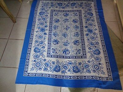 Vintage Dutch Blue White PICTORIAL tablecloth 48x60 Vibrant VNVC Boy Girl CUTE!