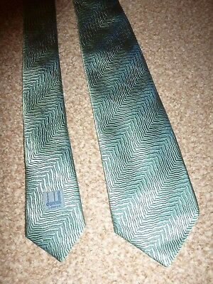 Dunhill London Italy Green Stripe Winter Fall Silk Formal Suit Shirt Dress Tie