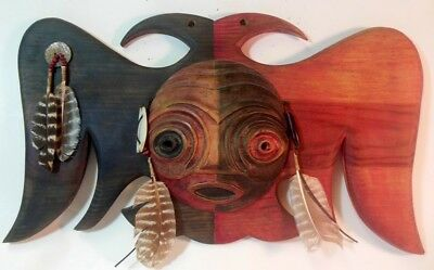 Artist Signed Native American Indian MASK RAVEN BIRD Carved Wood 1987 Feathers