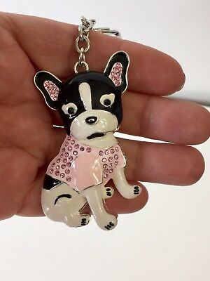 Frenchie Black And White, With Jewels,purse Charm