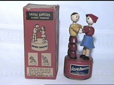 VINTAGE RARE KOHNER SWING DANCERS PUSH BUTTON PUPPET TOY BOX No. 127