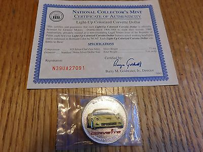 Light-Up Colorized Corvette Dollar - National Collector's Mint - With COA'S 2PCS