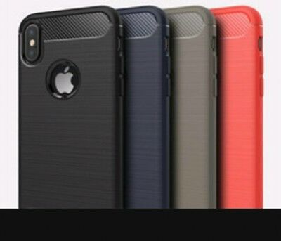 LOT OF 5 iPhone X iPhone 10 Case Carbon Fiber TPU Protective Cover Armour Gray