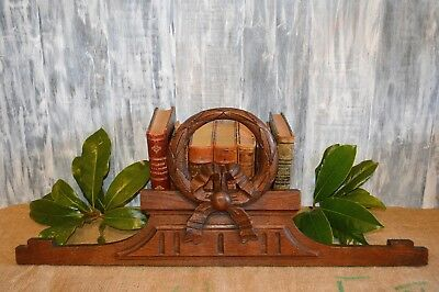 Antique French Carved Wood Pediment Wreath Ribbon Bow Centerpiece