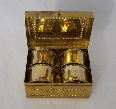 Vintage Arts and Crafts Brass box with Four Brass napkin rings