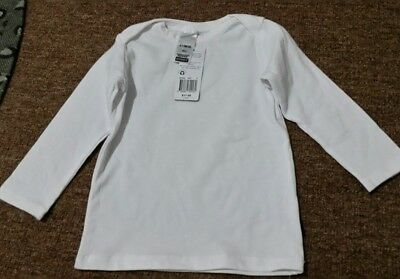 BNWT Baby Bonds White Stretchies Long Sleeve  Top Size 6-12 months