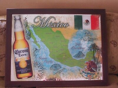 Corona Extra Light Beer Cerveza Mexico Map Flag 27x21