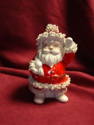 "Vintage Napco Santa Claus Planter Centerpiece Spagetti Trim 6"" Original Label"