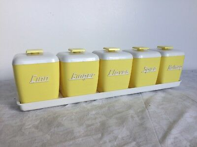 Retro Vintage Nally Ware Spice Canisters Canary Yellow IMMACULATELY CONDITION!!!
