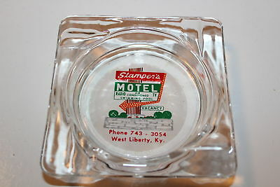 Vintage Glass Advertising ashtray Stamper's Motel West liberty Kentucky